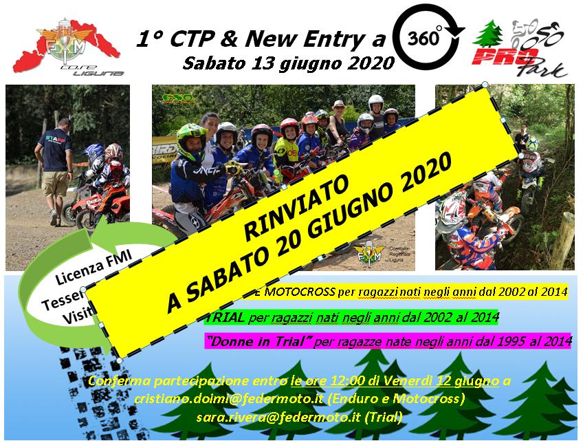 Riinviato a Sabato 20 giugno Corso di Trial Teorico Pratico e New Entry a 360°al PRO PARK di GENOVA