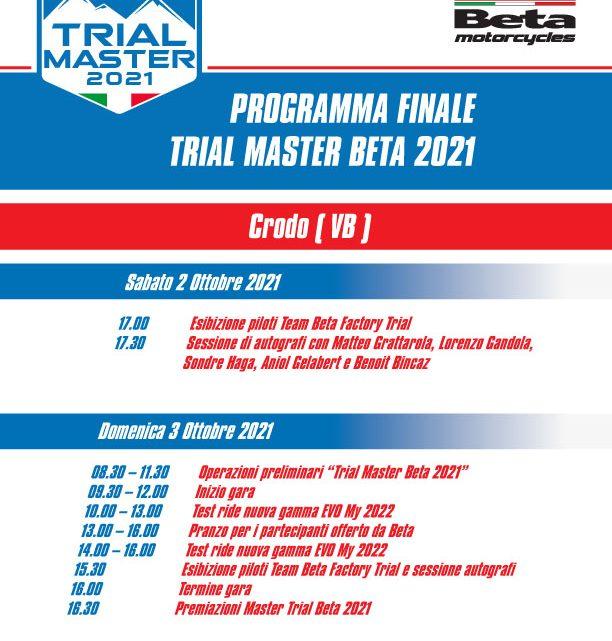 Trial Master Beta 2021 Crodo 3 Ottobre.PROGRAMMA ed EVENTI